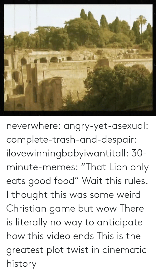 "Angry: neverwhere: angry-yet-asexual:  complete-trash-and-despair:  ilovewinningbabyiwantitall:  30-minute-memes: ""That Lion only eats good food"" Wait this rules.   I thought this was some weird Christian game but wow   There is literally no way to anticipate how this video ends  This is the greatest plot twist in cinematic history"