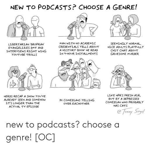 Recap: NEW TO PODCASTS? CHOOSE A GENRE!  MAN WITH NO ACADEMLC  CREDENTLALS YELLS ABOUT  A HISTORY B0OK HE READ  LN 9-HOUR INSTALLMENTS  SEEMINGLY NORMAL,  LIBERTARLAN 'BROPRAH  EVANGELIZES DMT AN)D  INTERVIEWS RIGHT WING  NICE ADULTS PLAYFULLY  CHIT CHAT ABOUT  GRUESOME MURDER  YOUTUBE TROLLS  NERDS RECAP A SHOW YOU'VE  ALREADY SEEN AND SOMEHOW  LIKE NPR'S FRESH AIR  BUT BY A DEPRESSED  COMEDLAN WHO PROBABLY  30 COMEDLANS YELLING  OVER EACHOTHER  LT'S LONGER THAN THE  ACTUAL TV EPISODE  HAS CATS  eqe new to podcasts? choose a genre! [OC]