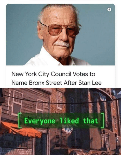 New York City: New York City Council Votes to  Name Bronx Street After Stan Lee  Everyone liked that