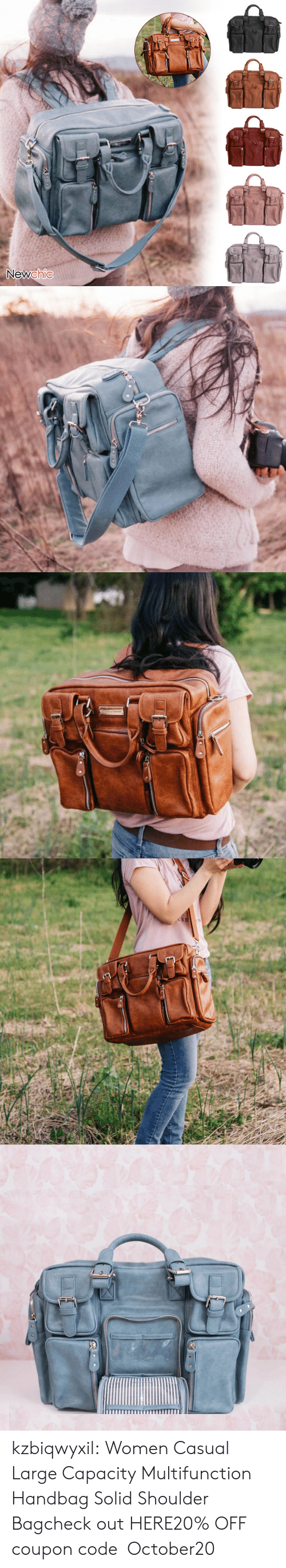 Tumblr, Blog, and Women: Newchic   USE kzbiqwyxil:  Women Casual Large Capacity Multifunction Handbag Solid Shoulder Bagcheck out HERE20% OFF coupon code:October20