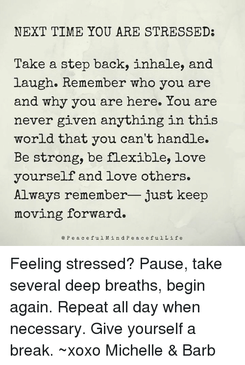 Repeatingly: NEXT TIME YOU ARE STRESSED:  Take a step back, inhale, and  laugh. Remember who you are  and why you are here. You are  never given anything in this  world that you can't handle.  Be strong, be flexible, love  yourself and love others.  Always remember- just keep  moving forward  e Pea ceful M ind P e a c efulLif e Feeling stressed? Pause, take several deep breaths, begin again. Repeat all day when necessary. Give yourself a break. ~xoxo Michelle & Barb