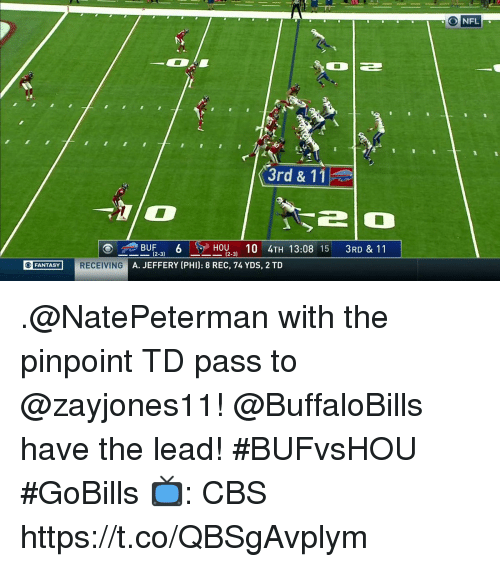 Memes, Nfl, and Cbs: NFL  3rd & 11  BUF6  -31  12-31  10 4TH 13:08 15 3RD & 11  (2-3)  SRECING A. JEFFERY (PHI): 8 REC, 74 YDS, 2 TD  FANTASY .@NatePeterman with the pinpoint TD pass to @zayjones11!  @BuffaloBills have the lead! #BUFvsHOU #GoBills  📺: CBS https://t.co/QBSgAvplym