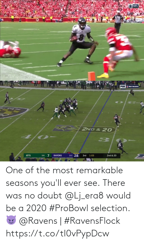 Ravens: NFL   FOX NETWORK  2ND & 20  11-2 28  5-8 7  RAVENS  3rd  2nd & 20  JETS  1:03 One of the most remarkable seasons you'll ever see.  There was no doubt @Lj_era8 would be a 2020 #ProBowl selection. 😈  @Ravens | #RavensFlock https://t.co/tI0vPypDcw