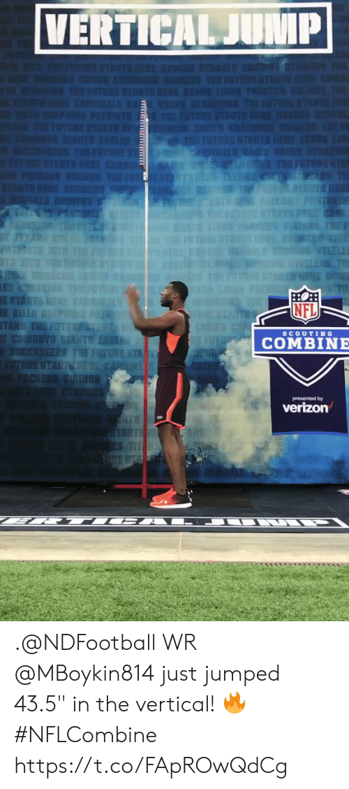 "Memes, Nfl, and Jumped: NFL  scoUTIN G  COMBINE  presented by .@NDFootball WR @MBoykin814 just jumped 43.5"" in the vertical! 🔥 #NFLCombine https://t.co/FApROwQdCg"