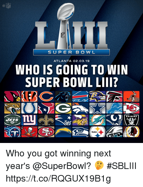Memes, Nfl, and Super Bowl: NFL  SUP ER B O W L  ATLANTA O2.O3.19  WHO IS GOING TO WIN  SUPER BOWL LIII?  nu  RAIDERS  Steelers Who you got winning next year's @SuperBowl? 🤔 #SBLIII https://t.co/RQGUX19B1g