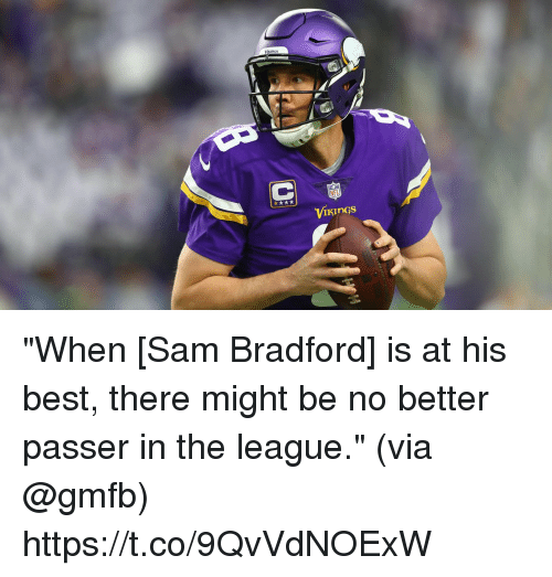 """Memes, Nfl, and Best: NFL  ViKinGs """"When [Sam Bradford] is at his best, there might be no better passer in the league.""""  (via @gmfb) https://t.co/9QvVdNOExW"""