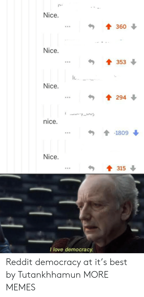 Dank, Love, and Memes: Nice.  360  Nice.  353  Nice.  294  yu  nice.  -1809  Nice.  315  I love democracy Reddit democracy at it's best by Tutankhhamun MORE MEMES
