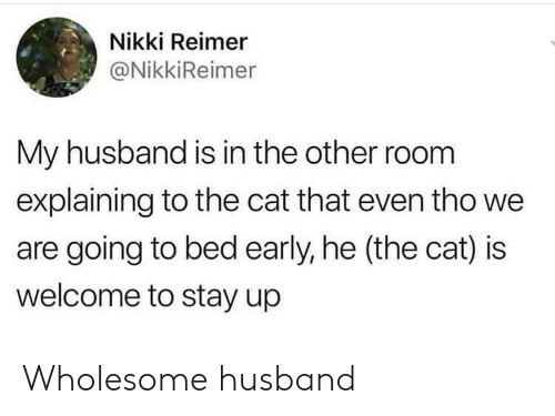 Going To Bed: Nikki Reimer  @NikkiReimer  My husband is in the other room  explaining to the cat that even tho we  are going to bed early, he (the cat) is  welcome to stay up Wholesome husband