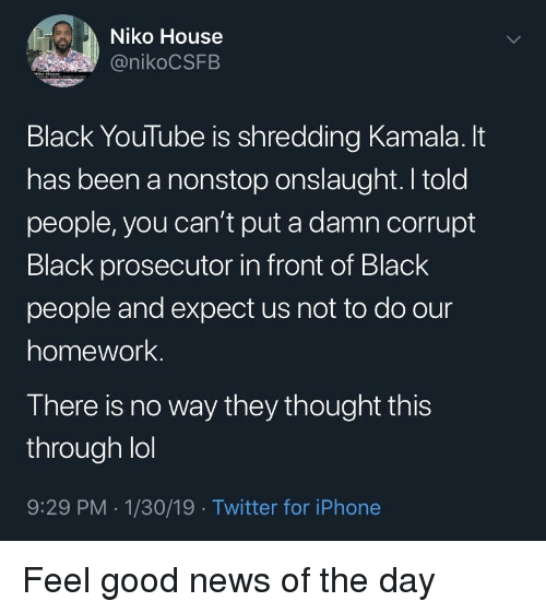 Blackpeopletwitter, Funny, and Iphone: Niko House  @nikoCSFB  Black YouTube is shredding Kamala. lt  has been a nonstop onslaught. I told  people, you can't put a damn corrupt  Black prosecutor in front of Black  people and expect us not to do our  homework.  There is no way they thought this  through lol  9:29 PM .1/30/19 Twitter for iPhone