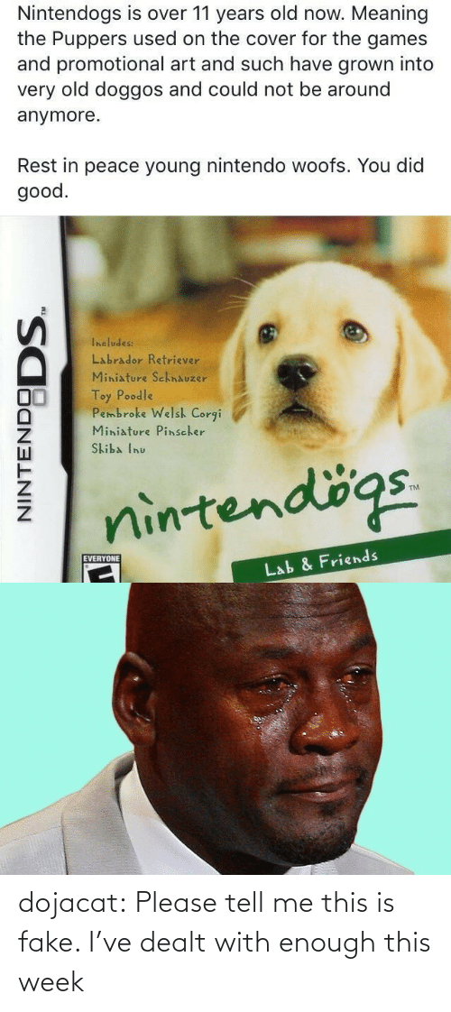 such: Nintendogs is over 11 years old now. Meaning  the Puppers used on the cover for the games  and promotional art and such have grown into  very old doggos and could not be around  anymore.  Rest in peace young nintendo woofs. You did  good.  Includes:  Labrador Retriever  Miniature SchnAuzer  Toy Poodle  Pembroke Welsh Corgi  Miniature Pinscher  Skiba Inu  nintendögs.  EVERYONE  Lab & Friends  NINTENDO  DODS. dojacat:  Please tell me this is fake. I've dealt with enough this week