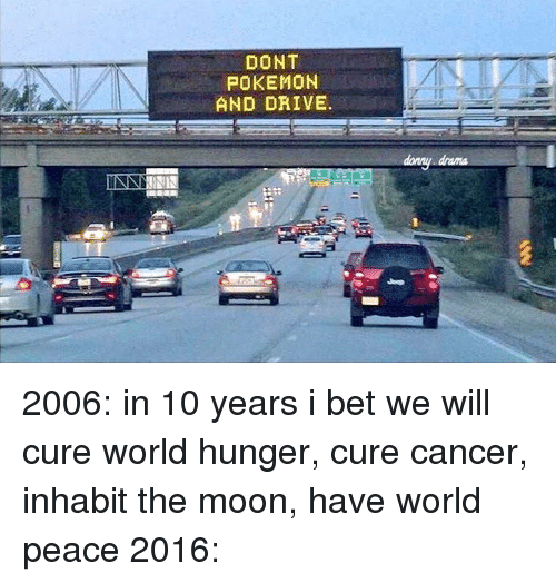 Dont Pokemon And Drive: NNAN  DONT  POKEMON  AND DRIVE.  damy dama 2006: in 10 years i bet we will cure world hunger, cure cancer, inhabit the moon, have world peace 2016: