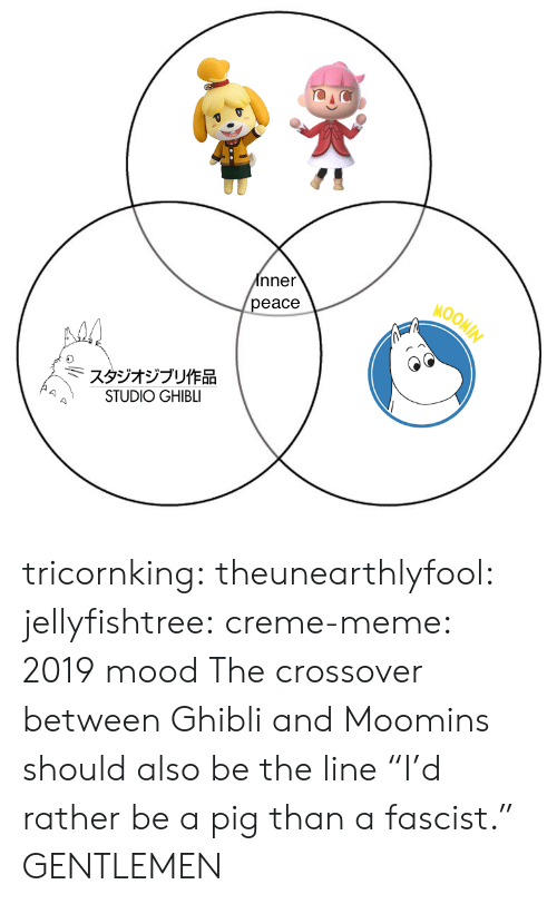 """Meme, Mood, and Tumblr: nner  eace  MOOM  スタジオジブリ作品  STUDIO GHIBLI tricornking: theunearthlyfool:  jellyfishtree:  creme-meme: 2019 mood  The crossover between Ghibli and Moomins should also be the line """"I'd rather be a pig than a fascist.""""   GENTLEMEN"""