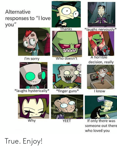 """Guns, Love, and Memes: NO  Alternative  responses to """"I love  you""""  hanks  *laughs nervously*  horrible  I'm sorry  ho doesn't  decision, really  laughs hysterically*fin  ger guns  I know  Why  If only there was  someone out there  who loved you  YEET True. Enjoy!"""