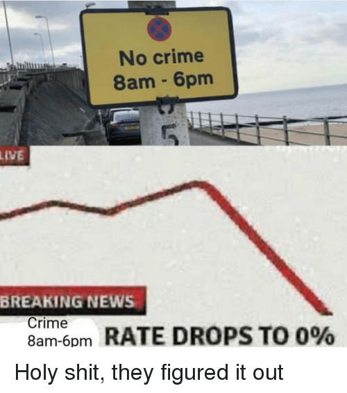 Crime, News, and Shit: No crime  8am 6pm  LIVE  BREAKING NEWS  Crime  8am-6pm  om RATE DROPS TO 0% Holy shit, they figured it out