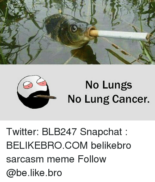lunging: No Lungs  No Lung Cancer. Twitter: BLB247 Snapchat : BELIKEBRO.COM belikebro sarcasm meme Follow @be.like.bro