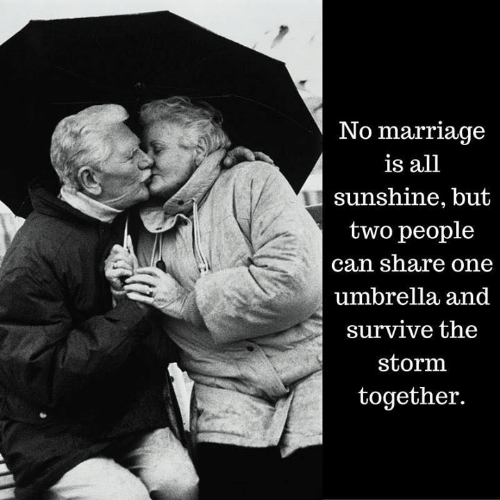 Marriage, Storm, and Sunshine: No marriage  is all  sunshine, but  two people  can share one  umbrella and  survive the  storm  together.