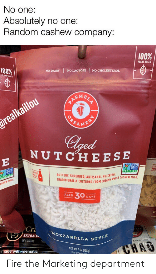 ese: No one:  Absolutely no one:  Random cashew company:  100%  PLANT BASED  100%  NO LACTOSE  NO CHOLESTEROL  NO DAIRY  PLANT BASED  ARMBLS  POEAMENRY  drealkaillou  Clged  NUTCHE ESE  E  NON  GMO  CAS  MII  VERIFIED  BUTTERY, SHREDDED. ARTISANAL NUTCHEES  TRADITIONALLY CULTURED FROM CREAMY WHOLE CASHEW MILK  SHEW MILK  30  AGED  DAYS  Cr  AST  MOZZARELLA STYLE  EXTRAS  ETATBOZOH  GAN  CHAO  NET WT 7 0Z (198g  made with mematic  KEEP REFRIGEDATER Fire the Marketing department