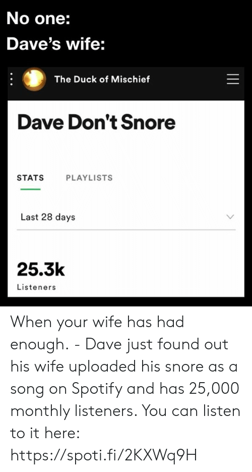 Monthly: No one:  Dave's wife:  The Duck of Mischief  Dave Don't Snore  STATS  PLAYLISTS  Last 28 days  25.3k  Listeners  || When your wife has had enough. - Dave just found out his wife uploaded his snore as a song on Spotify and has 25,000 monthly listeners. You can listen to it here: https://spoti.fi/2KXWq9H