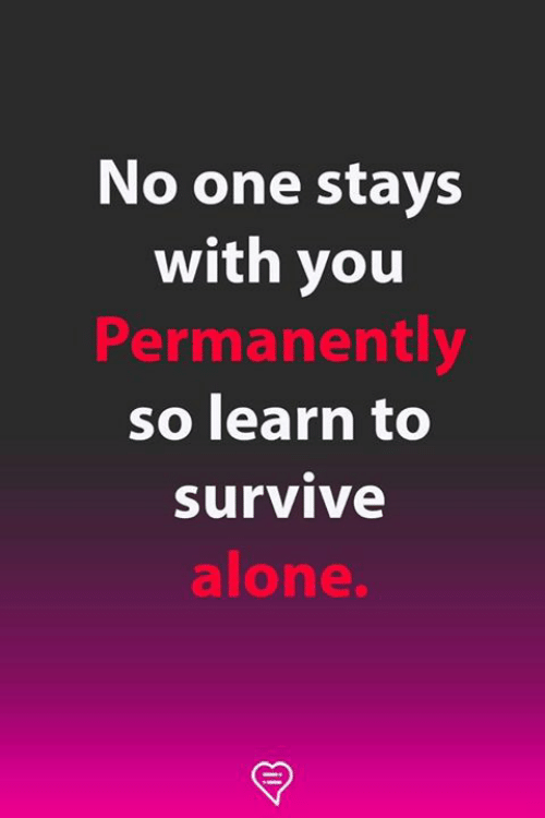 Being Alone, Memes, and 🤖: No one stays  with you  Permanently  so learn to  Survive  alone.