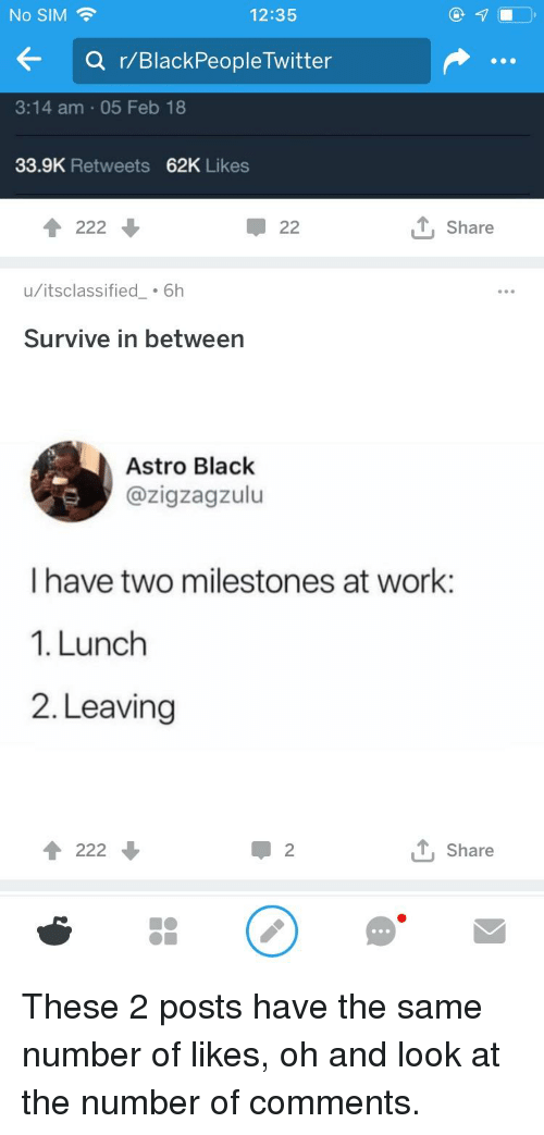 Blackpeopletwitter, Work, and Black: No SIM  12:35  Q r/BlackPeopleTwitter  3:14 am 05 Feb 18  33.9K Retweets 62K Likes  T, Share  u/itsclassified 6h  Survive in between  Astro Black  @zigzagzulu  I have two milestones at work:  1. Lunch  2. Leaving  T222  T, Share