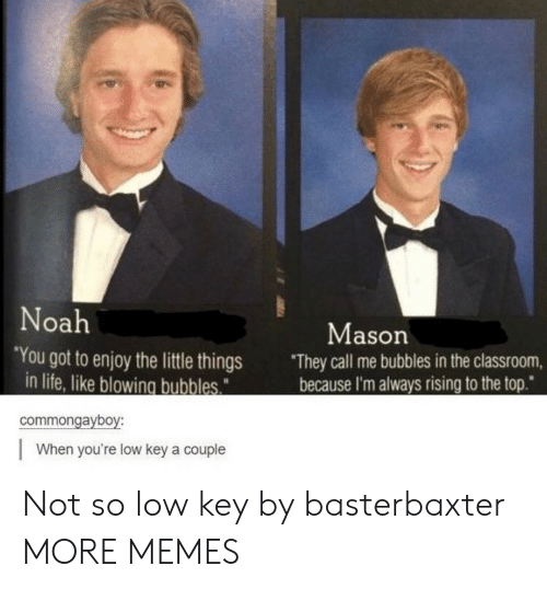 "Noah: Noah  Mason  ""You got to enjoy the little things  in life, like blowing bubbles  They call me bubbles in the classroom,  because I'm always rising to the top""  commongayboy:  When you're low key a couple Not so low key by basterbaxter MORE MEMES"