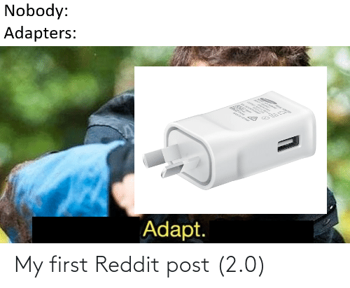 My First: Nobody:  Adapters:  Adapt. My first Reddit post (2.0)