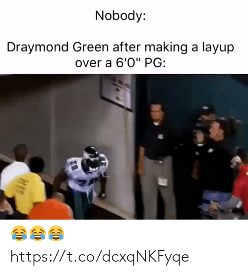"Draymond Green, Football, and Nfl: Nobody:  Draymond Green after making a layup  over a 6'0"" PG: 😂😂😂 https://t.co/dcxqNKFyqe"