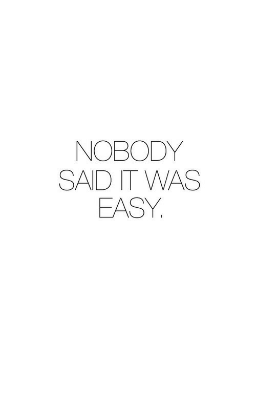 Easy, Nobody Said It Was Easy, and Nobody: NOBODY  SAID IT WAS  EASY