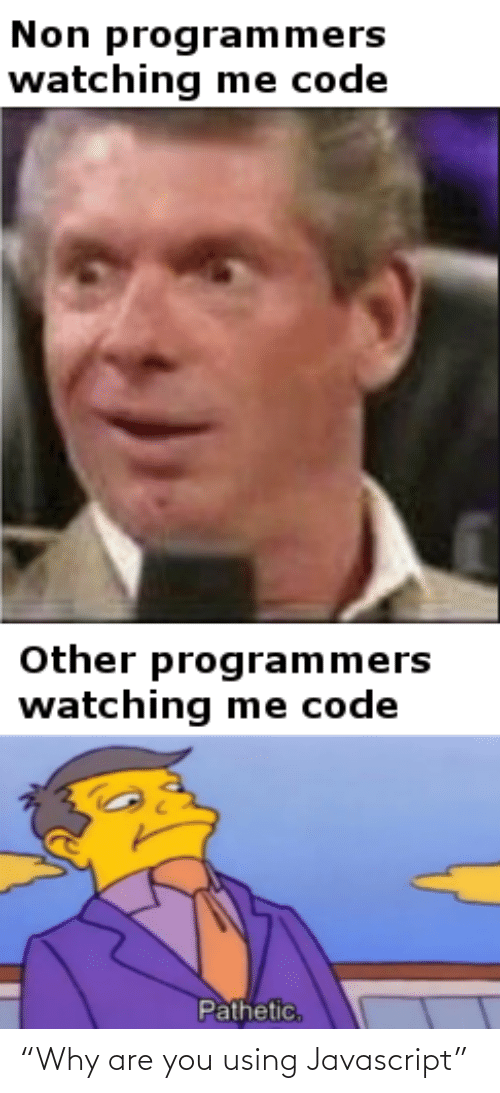 """Why Are: Non programmers  watching me code  Other programmers  watching me code  Pathetic, """"Why are you using Javascript"""""""