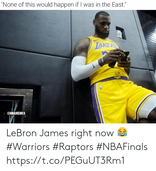 """Los Angeles Lakers, LeBron James, and Lebron: """"None of this would happen if I was in the East.""""  LAKERS  @NBAMEMES LeBron James right now 😂  #Warriors #Raptors #NBAFinals https://t.co/PEGuUT3Rm1"""