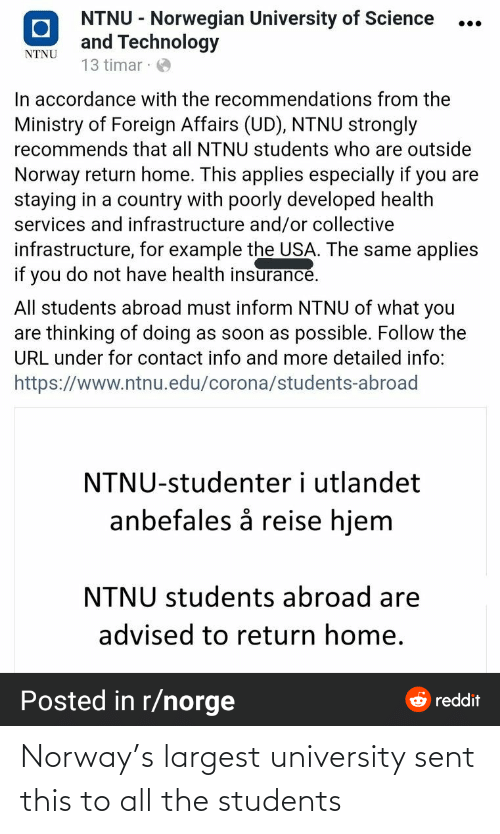 All The: Norway's largest university sent this to all the students