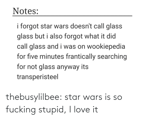Fucking: Notes:  i forgot star wars doesn't call glass  glass but i also forgot what it did  call glass and i was on wookiepedia  for five minutes frantically searching  for not glass anyway its  transperisteel thebusylilbee:  star wars is so fucking stupid, I love it
