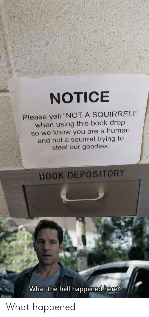 """Book, Squirrel, and Hell: NOTICE  Please yell """"NOT A SQUIRREL!""""  when using this book drop  so we know you are a human  and not a squirrel trying to  steal our goodies.  BOOK DEPOSITORY  What the hell happened here? What happened"""