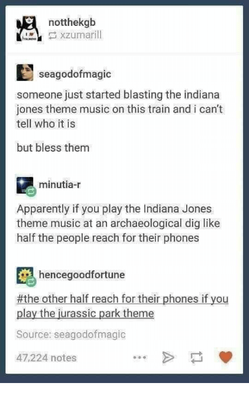 I Cant Tell: notthekgb  seagodofmagic  someone just started blasting the indiana  jones theme music on this train and i can't  tell who it is  but bless them  minutia-r  Apparently if you play the Indiana Jones  theme music at an archaeological dig like  half the people reach for their phones  hencegoodfortune  #the other half reach for their phones if you  play the jurassic park theme  Source: seagodofmagic  47,224 notes