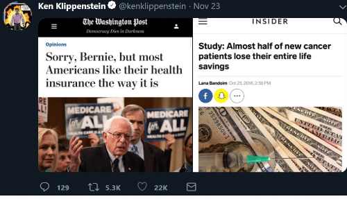 Bernie: Nov 23  Klippenstein @kenklippenstei  The Washington Post  INSIDER  Ken Klippenstein  Study: Almost half of new cancer  patients lose their entire life  savings  Democracy Dies in Darkness  Sorry, Bernie, but most  Americans like their health  Opinions  Lana Bandoim Oct 23, 2018, 2:30 PM  f O  insurance the way it is  RVE  ANOTE  UNTTED STAI  MEDICARE  LaALL  RE  MEDICARE  A ERIC  RESERVE  RESERVE  LMAL  NOTE  STATE  22K  Li 5.3K  129  NOT  wwE  RAL RESNENOTE