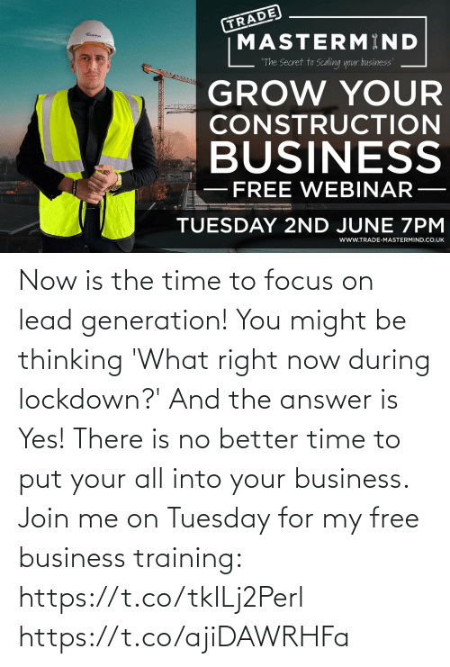 The Answer: Now is the time to focus on lead generation!   You might be thinking 'What right now during lockdown?' And the answer is Yes!   There is no better time to put your all into your business. Join me on Tuesday for my free business training: https://t.co/tkILj2Perl https://t.co/ajiDAWRHFa