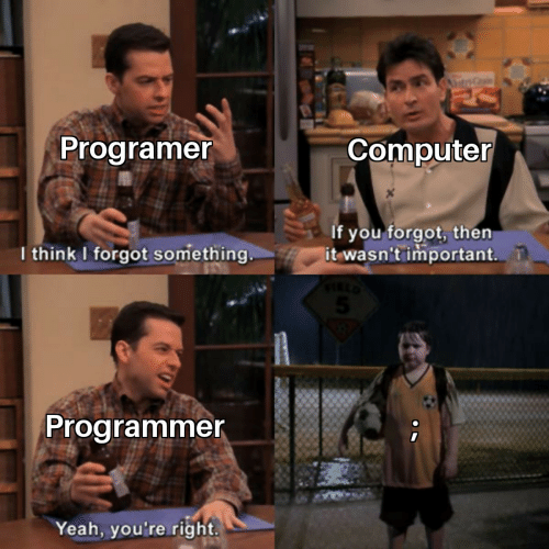 Yeah, Computer, and Think: ntrG  Programer  Computer  If you forgot, then  it wasn't important.  I think I forgot something  Programmer  Yeah, you're right
