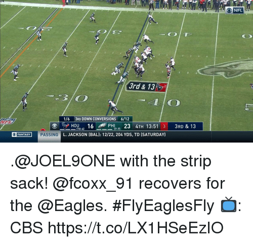 Philadelphia Eagles, Memes, and Nfl: O NFL  3rd & 13  1/6 3RD DOWN CONVERSIONS 6/12  HO6 PHI 23 4TH 13:51 3 3RD & 13  L. JACKSON (BAL): 12/22, 204 YDS, TD (SATURDAY)  O FANTAS .@JOEL9ONE with the strip sack!  @fcoxx_91 recovers for the @Eagles. #FlyEaglesFly  📺: CBS https://t.co/LX1HSeEzIO