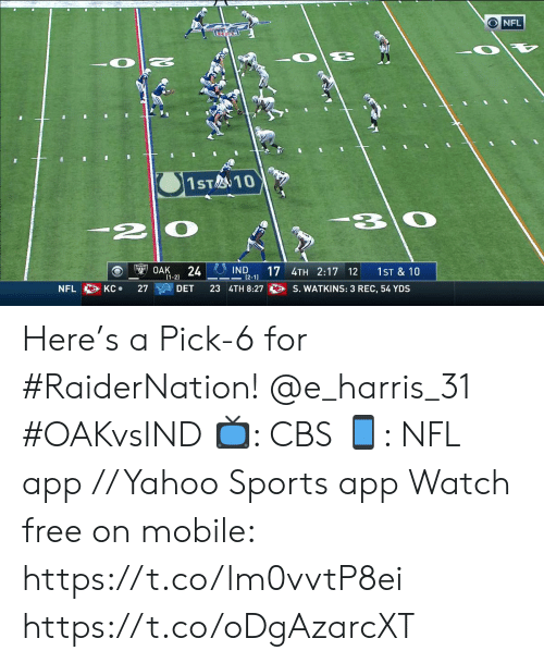 harris: O NFL  I  1ST10  -2|0  IND  12-1)  24  17 4TH 2:17 12  OAK  1ST & 10  (1-2)  S. WATKINS: 3 REC, 54 YDS  КС  27  23 4TH 8:27  NFL  KC  DET Here's a Pick-6 for #RaiderNation! @e_harris_31 #OAKvsIND  📺: CBS 📱: NFL app // Yahoo Sports app Watch free on mobile: https://t.co/lm0vvtP8ei https://t.co/oDgAzarcXT