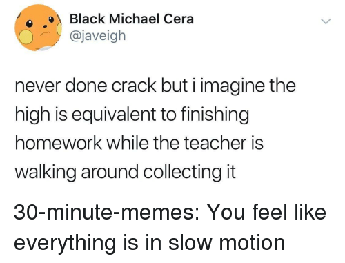 Memes, Michael Cera, and Slow Motion: oBlack Michael Cera  @javeigh  never done crack but i imagine the  high is equivalent to finishing  homework while the teacher is  walking around collecting it 30-minute-memes:  You feel like everything is in slow motion
