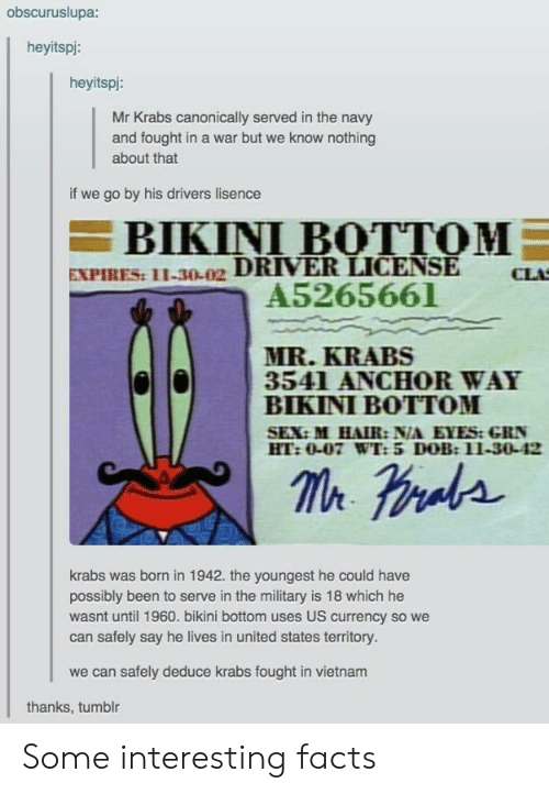 Bikini: obscuruslupa:  heyitspi:  heyitspi:  Mr Krabs canonically served in the navy  and fought in a war but we know nothing  about that  if we go by his drivers lisence  BIKINI BOTTOM  EXPIRES: 11-30-02 DRIVER LICENSE  A5265661  CLA  MR.KRABS  3541 ANCHOR WAY  BIKINI BOTTOM  SEX:M HAIR: N/A EYES:GRN  HT:0-07 WT: 5 DOB:11-30-42  krabs was brnin 1942. the youngest he could have  possibly been to serve in the military is 18 which he  wasnt until 1960. bikini bottom uses US currency so we  can safely say he lives in united states territory.  we can safely deduce krabs fought in vietnam  thanks, tumblr Some interesting facts