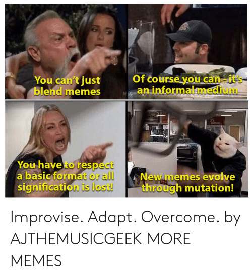 Evolve: Of course you can-it's  an informalmedium  You can't just  blend memes  You have to respect  a basic format or all  signification is lost!  New memes evolve  through mutation! Improvise. Adapt. Overcome. by AJTHEMUSICGEEK MORE MEMES