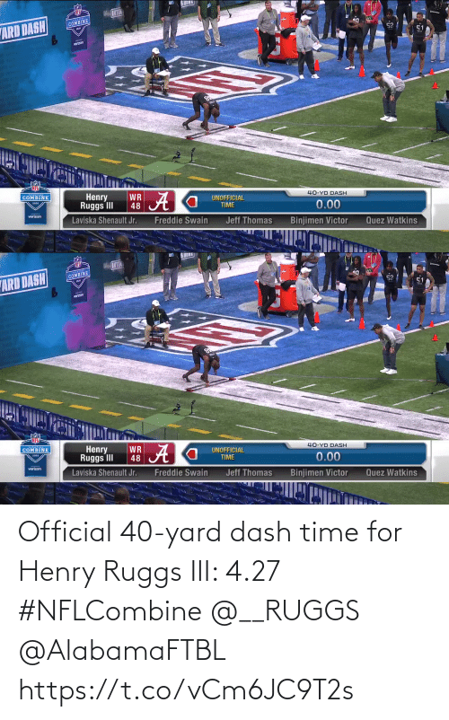 yard: Official 40-yard dash time for Henry Ruggs III: 4.27  #NFLCombine @__RUGGS @AlabamaFTBL  https://t.co/vCm6JC9T2s