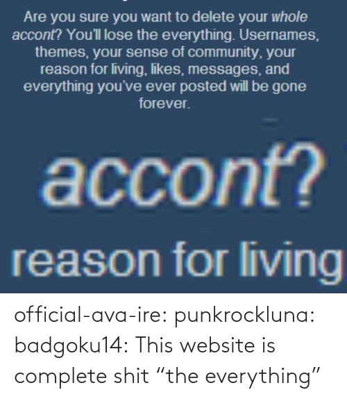 """everything: official-ava-ire: punkrockluna:  badgoku14:  This website is complete shit  """"the everything"""""""