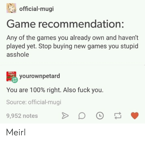 The Games: official-mugi  Game recommendation:  Any of the games you already own and haven't  played yet. Stop buying new games you stupid  asshole  yourownpetard  You are 100% right. Also fuck you.  Source: official-mugi  9,952 notes Meirl