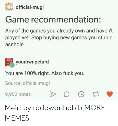 Dank, Memes, and Target: official-mugi  Game recommendation:  Any of the games you already own and haven't  played yet. Stop buying new games you stupid  asshole  yourownpetard  You are 100% right. Also fuck you.  Source: official-mugi  9,952 notes Meirl by radowanhabib MORE MEMES