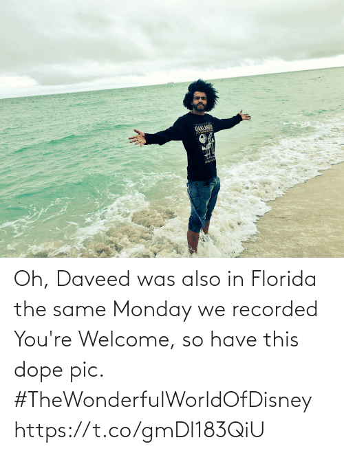 Florida: Oh, Daveed was also in Florida the same Monday we recorded You're Welcome, so have this dope pic. #TheWonderfulWorldOfDisney https://t.co/gmDl183QiU