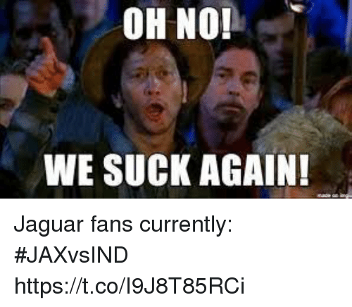 Sports, Jaguar, and Oh No We Suck Again: OH NO!  WE SUCK AGAIN! Jaguar fans currently: #JAXvsIND https://t.co/I9J8T85RCi