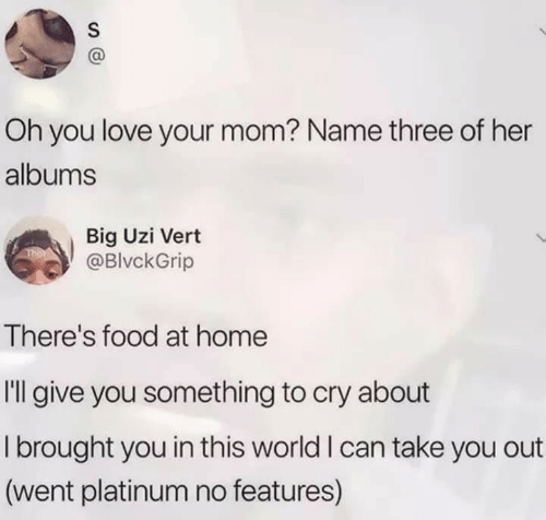 Food, Love, and Home: Oh you love your mom? Name three of her  albums  Big Uzi Vert  @BlvckGrip  There's food at home  Il give you something to cry about  I brought you in this world I can take you out  (went platinum no features)  S