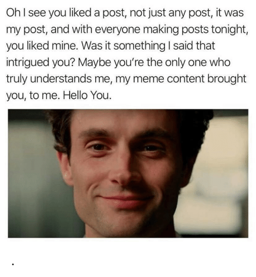 everyone: OhI see you liked a post, not just any post, it was  my post, and with everyone making posts tonight,  you liked mine. Was it something I said that  intrigued you? Maybe you're the only one who  truly understands me, my meme content brought  you, to me. Hello You. .